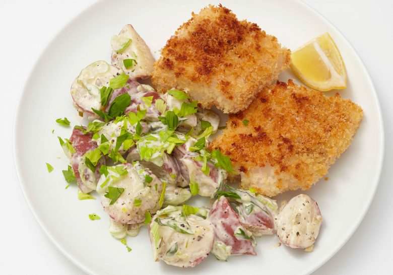 Oven-Fried Fish with Potato Salad