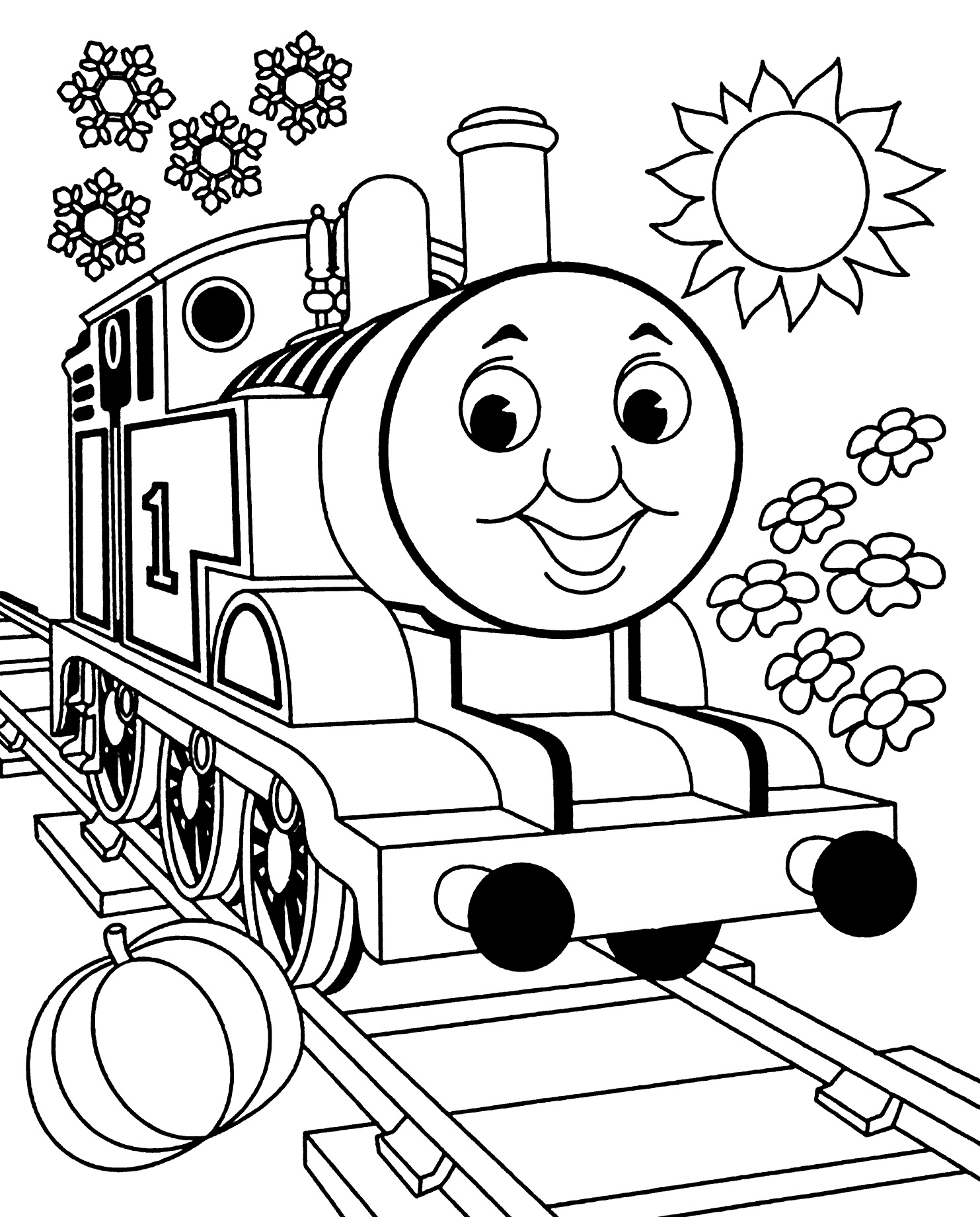 Thomas tank engine colouring in page