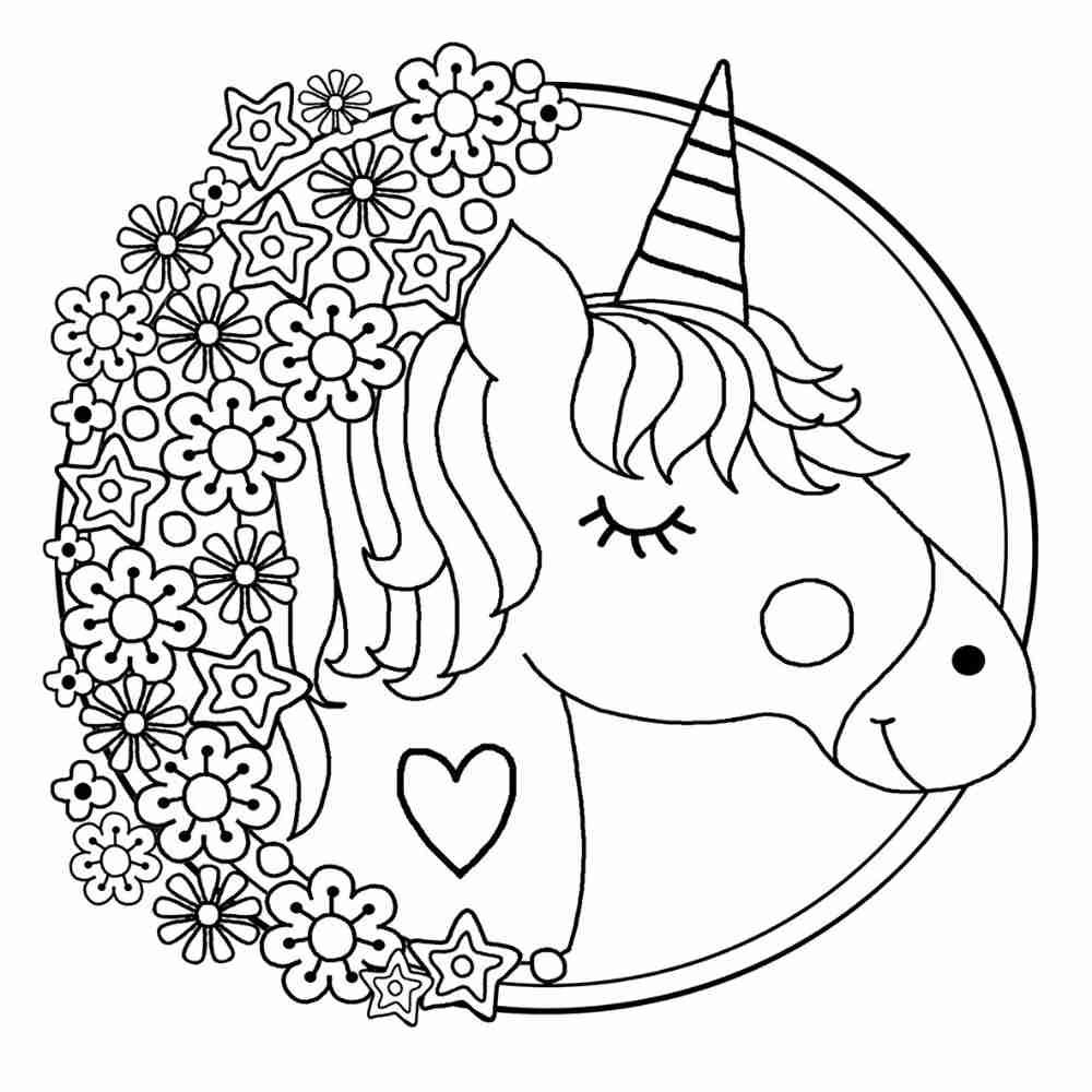 Unicorn colouring in printable for children