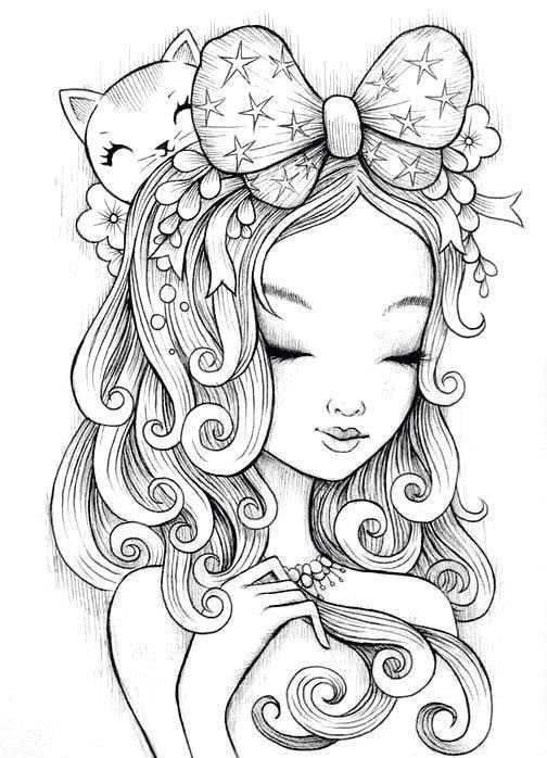 Colouring page girl with kitten