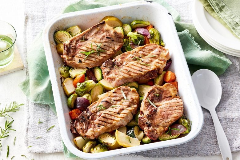 Pork chops with maple-roasted vegetables