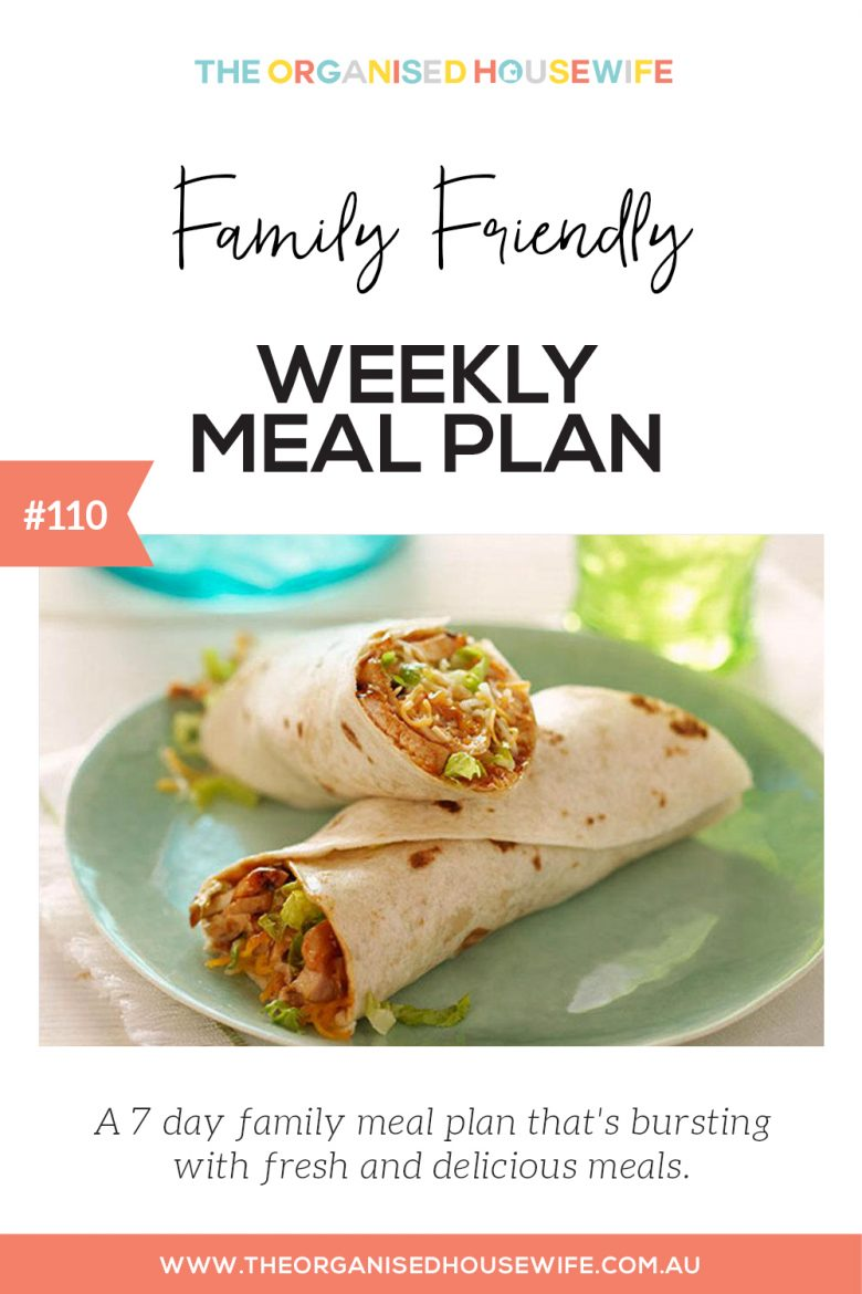 Family friendly meal weekly meal plan