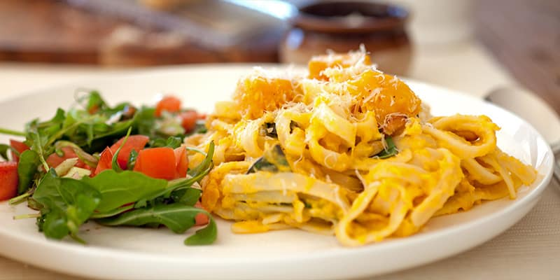 Pumpkin and pine nut fettucine