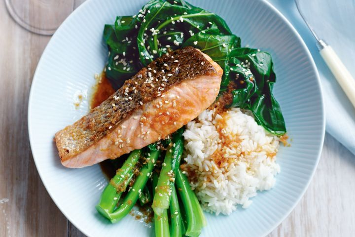 steamed salmon with a side of steamed vegetables of broccoli and rice