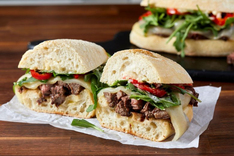 Steak sandwich with melted cheese recipe