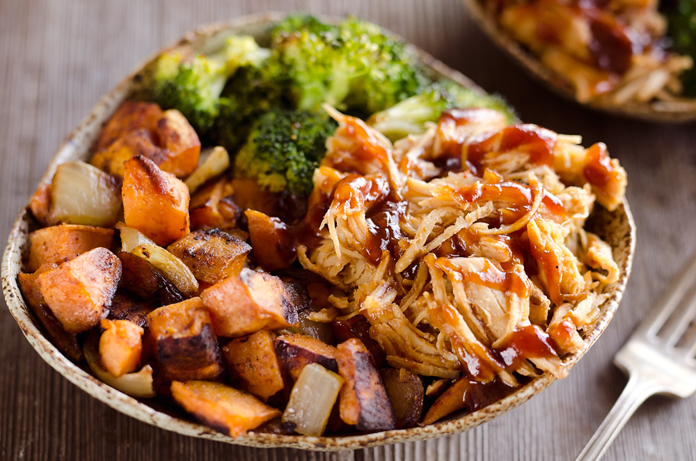 grilled chicken breast with charred sweet potato with a side of broccoli