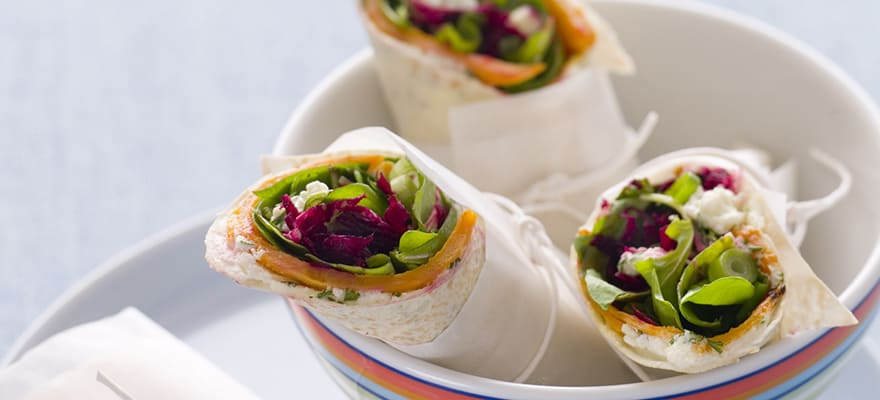 roasted sweet potato and beetroot wrap