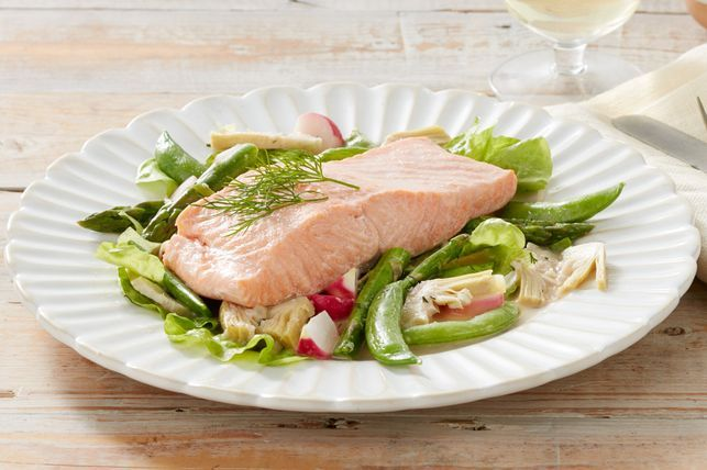 Steamed salmon with spring vegetables