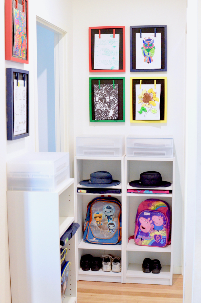 school bag storage for a small space