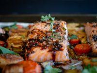 Glazed Balsamic Salmon and Roast Vegetables