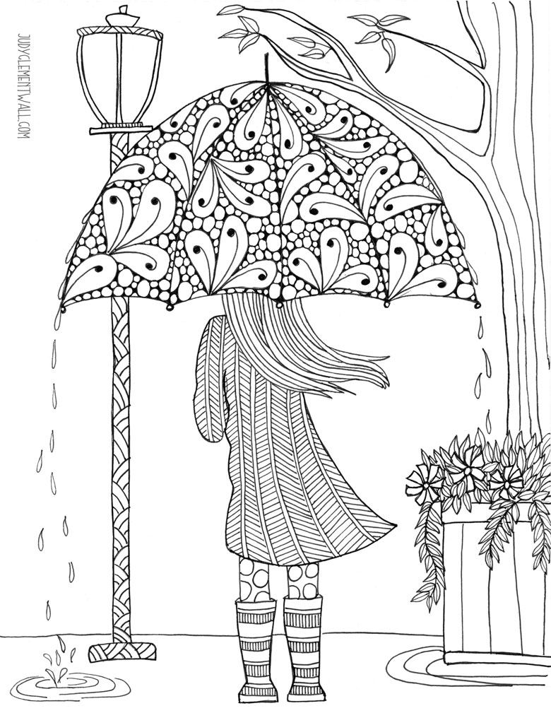 free adult colouring in page - umbrella girl
