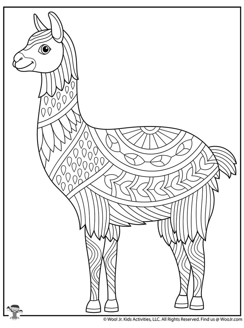 llama colouring in page adult free printable