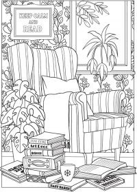 reading chair and books colouring in page