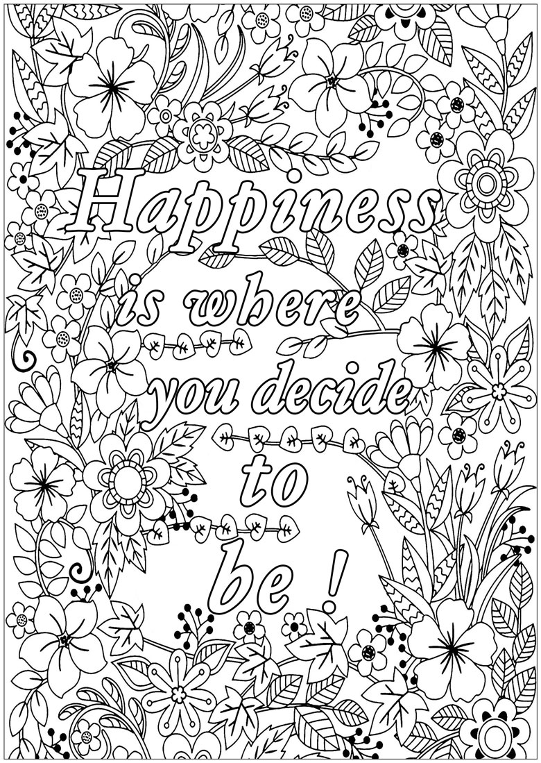 inspirational quote colouring in page