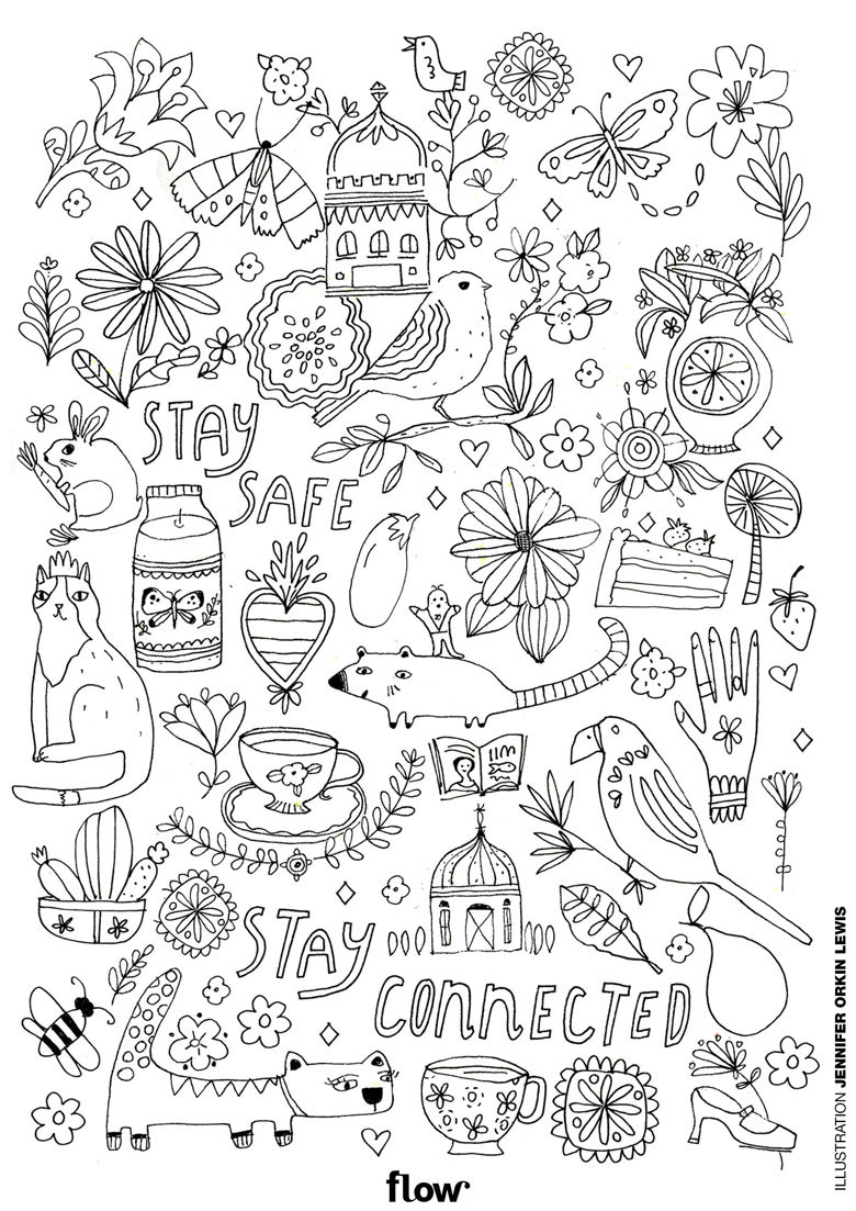 colouring in page printable flow magazine