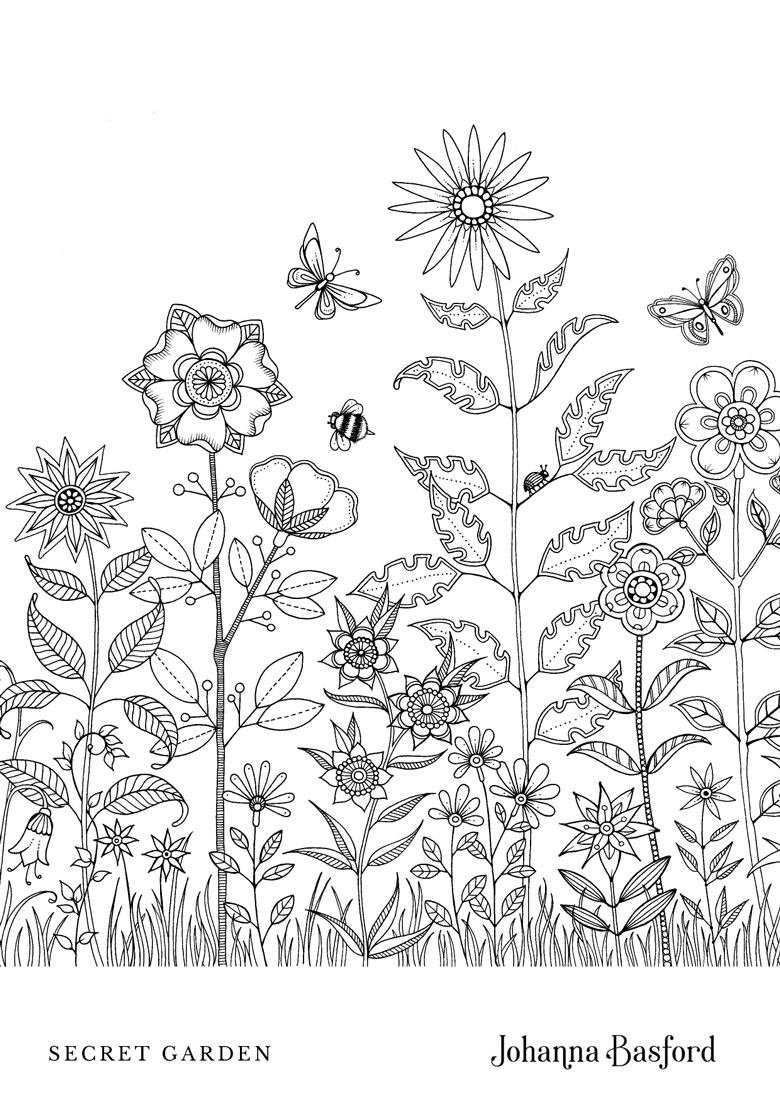 free printable flower garden colouring in page