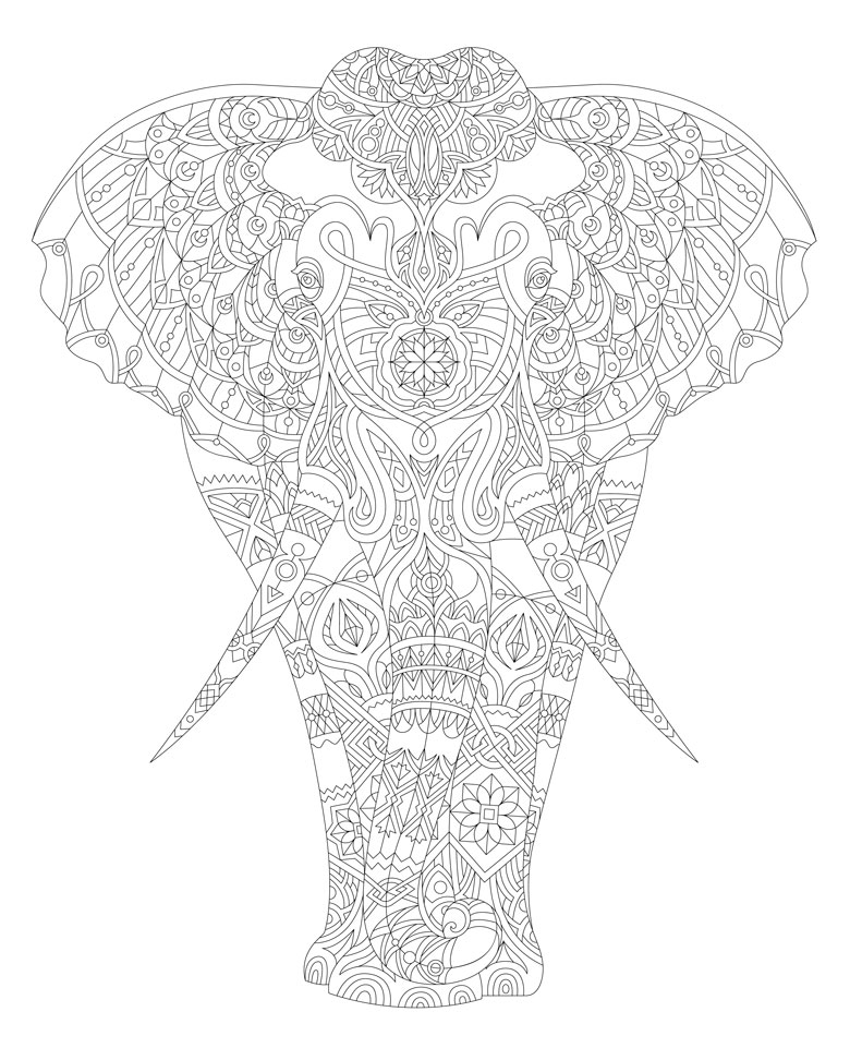 elephant colouring in page free