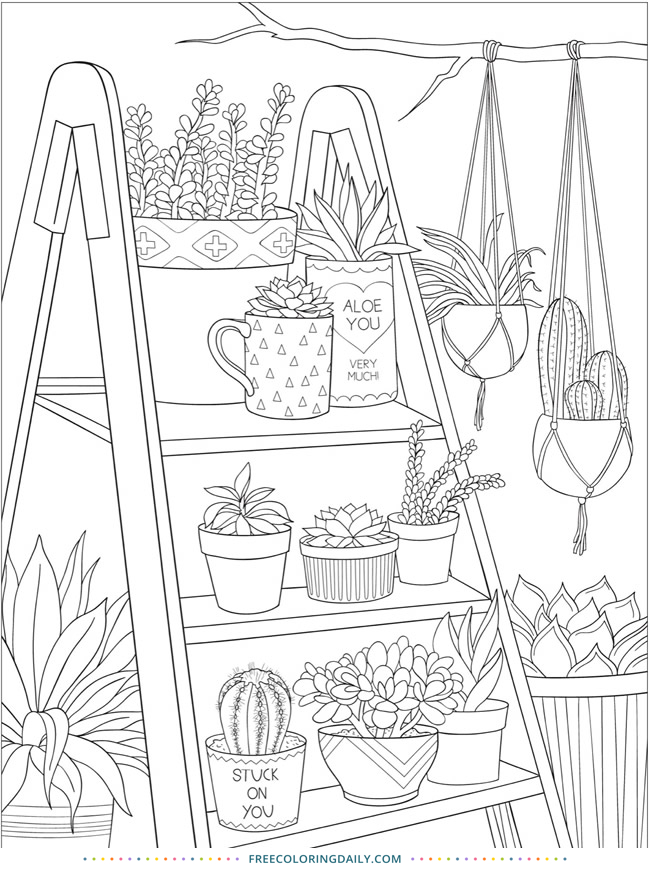 house plants free colouring in page printable