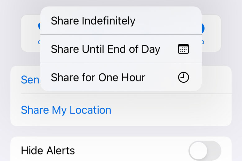 iPhone safety feature - share location via messages