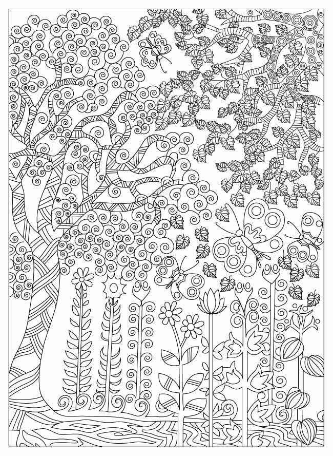 tree zentangle colouring in page for adults
