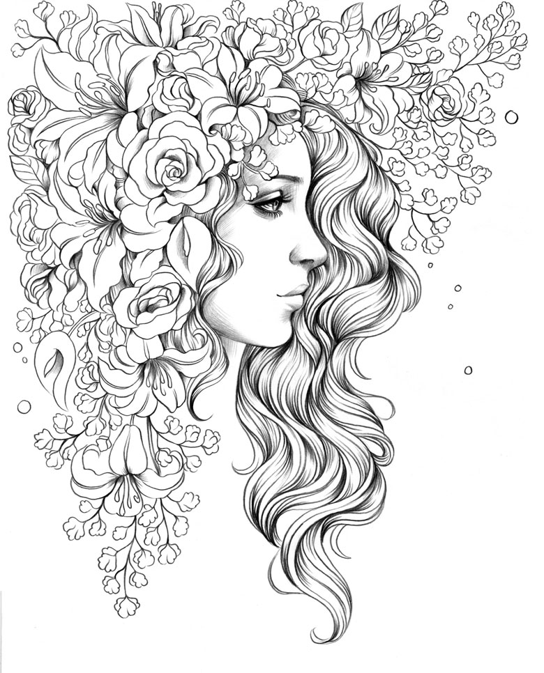woman with flower crown free printable colouring in page