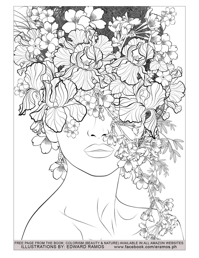 woman with flowers free colouring page