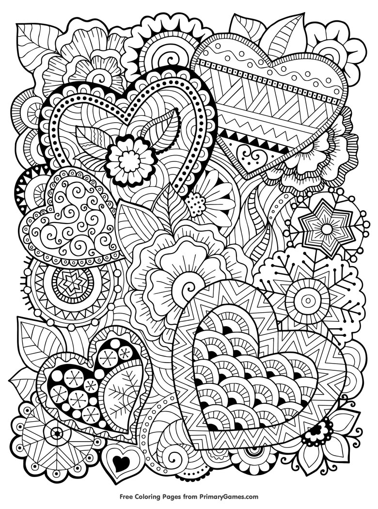 zentangle hearts free adult colouring in page
