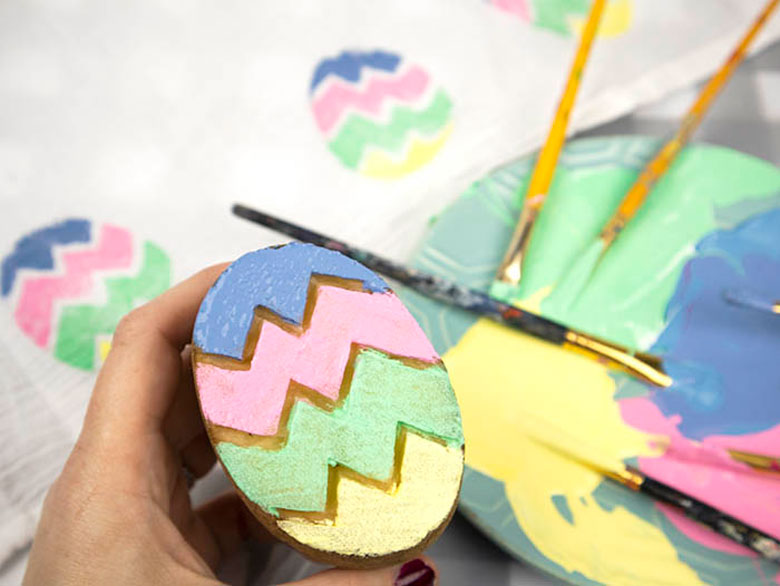 Easter Egg potato stamp printing