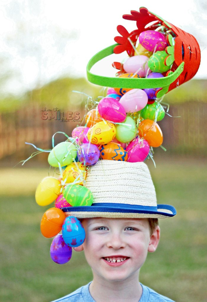 plastic egg easter bonnet idea