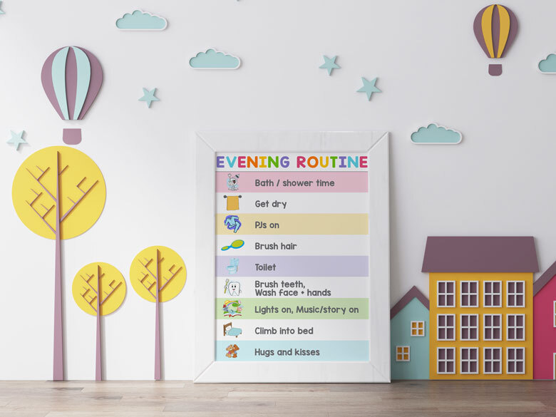 routine chart to help with night time toilet training