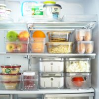 fridge organisation with labels