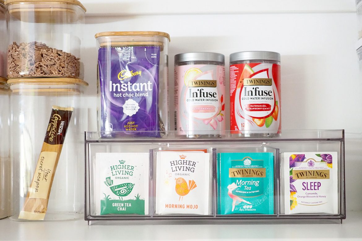 tea and drink storage in the pantry
