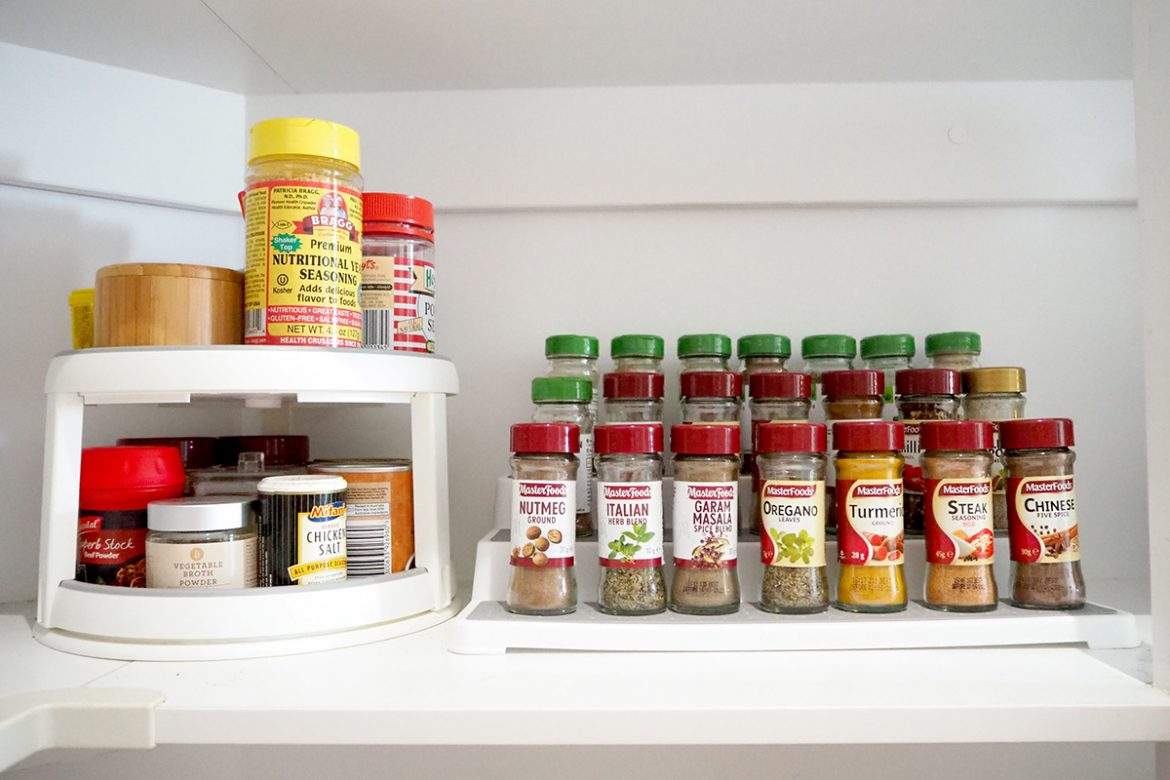 use turntables and tiered shelves in the pantry